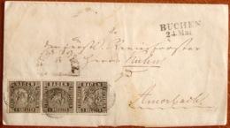 Baden 1862: Michel-No. 9 (1 KREUZER Schwarz) Mit O BUCHEN 24.Mai Als MeF Auf Siegel-Faltbrief Nach AMORBACH - Baden