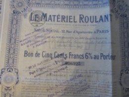 LE MATERIEL ROULANT BON DE 500 FRANCS 1917 - Actions & Titres