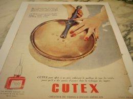 ANCIENNE PUBLICITE VERNIS A ONGLES CUTEX 1954 - Parfums & Beauté