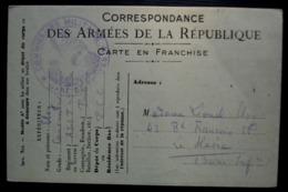 Gare De Troyes 1917 Commissaire Militaire Sur Carte En Franchise Correspondance Des Armées De La République - WW I