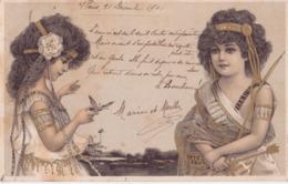 ILLUSTRATEUR ART NOUVEAU DEUX ENFANTS FILLE 1901 CPA BON ÉTAT - Illustratori & Fotografie
