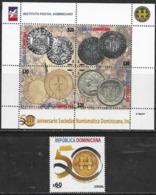 DOMINICAN REPUBLIC , 2019, MNH, NUMISMATICS, COINS, 1v+ SHEETLET OF 4v - Other