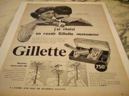 ANCIENNE PUBLICITE J AI CHOISI POUR LUI  GILLETTE 1954 - Parfum & Cosmetica