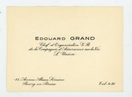 CARTE DE VISITE : EDOUARD GRAND - COMPAGNIE D'ASSURANCE SUR LA VIE , L'UNION À BOURG EN BRESSE - Cartoncini Da Visita
