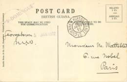 CACHET PAQUEBOT ST-DOMINGUE - CAYENNE A FORT DE FRANCE, L C, VOYAGE LE 5 JANVIER 1912, SUR CARTE DE GUYANE BRITANNIQUE - Postmark Collection (Covers)