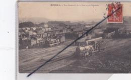 Epinal (88) Vue D'ensemble De La Gare Et Des Rotondes Avec Nombreux Trains - Epinal