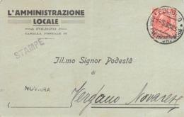 """5728 """"SOLLECITO DI PAGAMENTO PUBBLICAZIONI DA L'AMMINISTRAZIONE LOCALE-FOLIGNO AL PODESTA' DI VERGANO NOVAR.-1932""""ORIG. - Visiting Cards"""