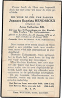 Zandvliet, 1938, Joannes Hendrickx, Kil - Images Religieuses