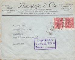 Brazil AZAMBUJA & Cia., Phosphoros Primor PARANAGUÁ Paraná 1927 Cover Letra HAMBURG Germany 2x 200 R Aviacao - Brazilië