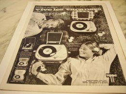 ANCIENNE  PUBLICITE VIVE LES VACANCES AVEC TEPPAZ 1966 - Music & Instruments