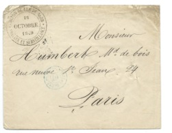 MARQUE POSTALE / PARIS 1849 POUR PARIS / CACHET DU CHEMIN DE FER DU NORD TRAVAUX ET SURVEILLANCE - Marcophilie (Lettres)
