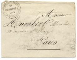MARQUE POSTALE / PARIS 1849 POUR PARIS / CACHET DU CHEMIN DE FER DU NORD TRAVAUX ET SURVEILLANCE - Poststempel (Briefe)