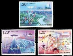 China 2019-21 Guangdong-Hong Kong-Marco Greater Bay Area MNH Aircraft Ship Bridge Currency Bicycle Opera - 1949 - ... People's Republic