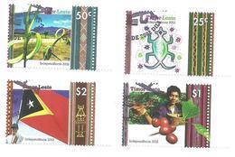 East Timor 2002 - Independence Day Crocodile, Palm, Coffee, Flag Set MNH - Timor Orientale