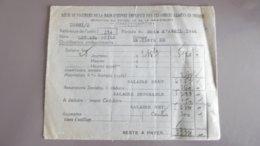 Bulletin De Salaire De Avril 1946 Pour La Main D'œuvre Employée Par Les Forces Alliées En France - Documenten