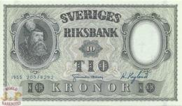 SWEDEN 10 KRONOR 1955 PICK 43c UNC - Svezia