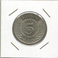 B3 Yugoslavia 5 Dinara 1970. FAO Fiat Panis KM#56 - Joegoslavië