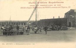 Dpts Div.-ref-AN207- Alpes Maritimes - Antibes - Dechargement Charbon- Pub Huile D Olive Union Des Propriétaires Nice - - Antibes