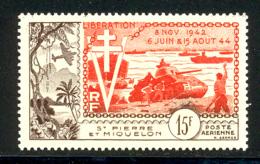 St Pierre Et Miquelon PA 1954 Yvert 22 ** TB Bord De Feuille - Poste Aérienne