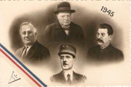 Photographie Ancienne De 39-45, Photomontage De 1945, Staline Churchill, Rossevelt Et De Gaulle, Croix De Lorraine - Guerre, Militaire