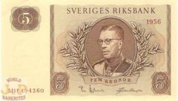 SWEDEN 5 KRONOR 1956 PICK 42c AU+ - Svezia