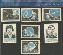 COSMONAUTES YURI GAGARIN VALENTINA TERESHKOVA TITOV POPOVICH NIKOLAEV KOSMOS SPACE TSIOLKOVSKY Matchbox Labels USSR 1963 - Matchbox Labels