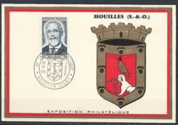 France Carte 20-21/02/1965 Exposition Philatélique De Houilles Paul Dukas - Marcophilie (Lettres)