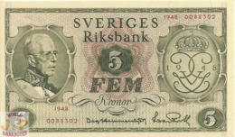 SWEDEN 5 KRONOR 1948 PICK 41a UNC RARE - Svezia