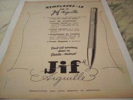 ANCIENNE PUBLICITE STYLO JIF AIGUILLE 1951 - Juwelen & Horloges