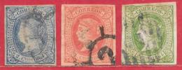 Espagne N°59 2c Bleu Sur Rose, N°60 4c Rouge Sur Saumon, N°61 12c Vert Sur Rose 1864 O - 1850-68 Royaume: Isabelle II