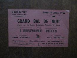 LANDRECIES 13 JANVIER 1962 GRAND BAL DE NUIT ORGANISE PAR LES ANCIENS COMBATTANTS PRISONNIERS DE GUERRE AVEC L'ENSEMBLE - Programme