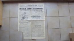 VENEZIA GIULIA TRIESTE GIORNALE QUOTIDIANO IL PICCOLO LA LIBERAZIONE DI MUSSOLINI PRIGIONIERO 13.09.43 MANCANZA A SX - Libri, Riviste, Fumetti