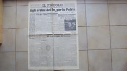 VENEZIA GIULIA TRIESTE GIORNALE QUOTIDIANO IL PICCOLO 28.07.1943 CADUTA DEL FASCISMO - Libri, Riviste, Fumetti