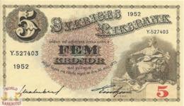 SWEDEN 5 KRONOR 1952 PICK 33aI UNC - Svezia