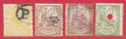 Espagne N°141 2c Jaune, N°145 25c Brun-jaune, N°146 40c Violet, N°148 1P Vert 1874 O - 1873-74 Regentschaft