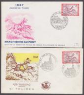 1967. Twee FDC. N° 1413. Dag Van De Postzegel. Marcienne-Au-Pont & Sint-Truiden - FDC