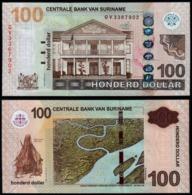 Suriname  -  100  Dollars  P166c  2016  Unc - Suriname