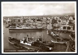 CV2978 CIVITAVECCHIA (Roma RM) Panorama Del Porto,  FG, Affrancata Con Littoriali 20 C., Viaggiata 1935 Per Lido Camaior - Civitavecchia