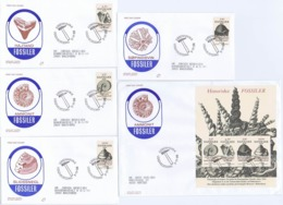 Denmark 1998;  Fossils.  Set Of 4 And Miniature Sheet On FDC (Populær Filateli). - FDC