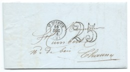 MARQUE POSTALE / ST QUENTIN AISNE 1853 POUR CHAUNY AISNE / TAXE 25 DOUBLE TRAIT / FACTURE A ENTETE MIROITERIE DUVAL - Postmark Collection (Covers)