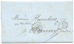 MARQUE POSTALE / LA VILLETTE 1853 POUR CHAUNY / TAXE 25 DOUBLE TRAIT / FACTURE A ENTETE SCIERIE & PARQUET CANDELOT - Postmark Collection (Covers)