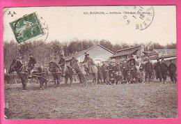 MILITARIAT - BOURGES ARTILLERIE - PIECE DE 120 ATTELEE - BEAU PLAN - Bourges