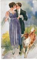 ILLUSTRATEUR SANTINO  COUPLE ET LEVRIER BARZOÏ 1918 - Ilustradores & Fotógrafos
