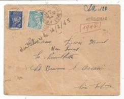 POCHE SAINT NAZAIRE PETAIN MERCURE LETTRE REC PROV HERBIGNAC 5.2.1945 COURRIER CIVIL RARE - WW II