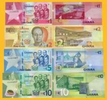 Ghana Set 1, 2, 5, 10 Cedis 2017-2019 UNC Banknotes - Ghana