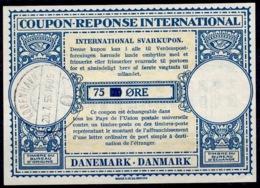 DANEMARK / DENMARK Lo15A 75 On 70 ÖRE Int. Reply Coupon Reponse Antwortschein IRC IAS O KOBENHAVN 20.7.55 - Enteros Postales