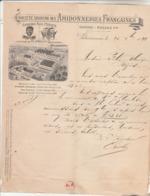 Lettre Facture Illustrée 24/12/1891 SA Les Amidonneries Françaises Amidon Paul PESIER VALENCIENNES Nord - Timbre Sage - 1800 – 1899