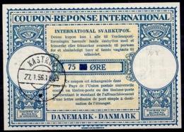 DANEMARK / DENMARK Lo15A 75 On 70 ÖRE Int. Reply Coupon Reponse Antwortschein IRC IAS O KASTRUP 27.1.56 - Enteros Postales