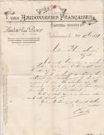 Lettre Facture  24/12/1891 SA Les Amidonneries Françaises Amidon Paul PESIER VALENCIENNES Nord - Timbre Sage - France