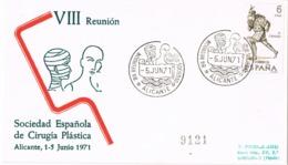 34416. Carta ALICANTE 1971. Reunion Sociedad CIRUGIA PLASTICA, Medicina - 1931-Hoy: 2ª República - ... Juan Carlos I